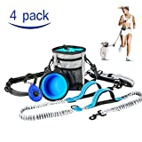 MG MULGORE Dog Leash Hands Free Running Leash with Dog Treat Bag,Dog Bowl and Dog Clicker Adjustable Design Fits Waist Sizes Comfort Safe Dual Handle for Walking Jogging Hiking Running (Blue)