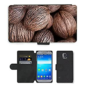 PU LEATHER case coque housse smartphone Flip bag Cover protection // M00153062 Planta Pong Ronda árbol Textura // Samsung Galaxy S5 S V SV i9600 (Not Fits S5 ACTIVE)