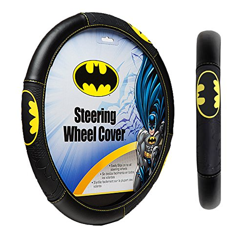 DC+Comics Products : Batman Colored Bat Logo Shattered Superhero Cartoon Movie Character DC Comics Car Truck SUV Auto Universal Fit Steering Wheel Cover