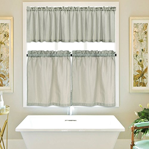 IdealHouse 3 Pieces Waffle Woven Textured Tier Curtains and