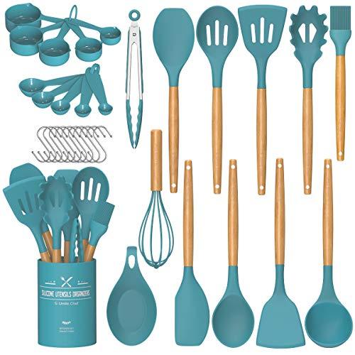 Umite Chef Kitchen Cooking Utensils Set, 24 pcs Non-stick Silicone Cooking Kitchen Utensils Spatula Set with Holder, Woodle Handle Heat Resistant Silicone Kitchen Gadgets Utensil Set(Dark Blue)