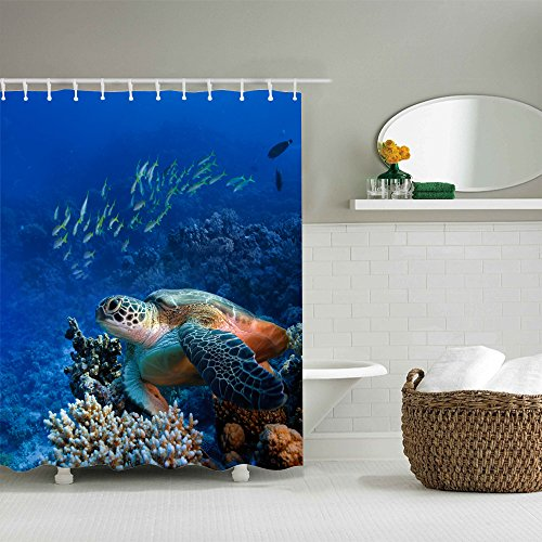 """Wholesale Jenave Blue Ocean Tropical Fish Coral Undersea World Waterproof Mildew Resistant Fabric Bathroom Shower Curtains 78"""" by 72"""" Inch free shipping"""