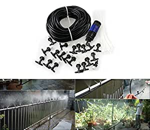 Carry360 20M 66FT Garden Outdoor Patio Home Drip Irrigation Misting Irrigation Cooling System With 20PCS Plastic Mist Nozzle And Quick Coupling