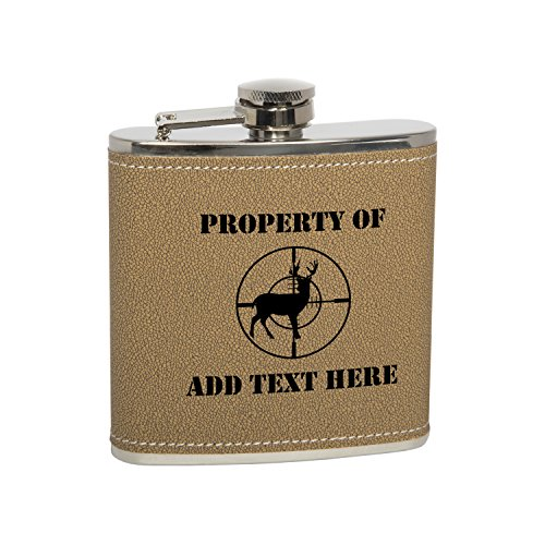 - Gift Box With 6 Oz Stainless Steel Leather Covered Hip Flask With Funnel - Deer Buck Hunting Crosshairs Sniper Personalized Engraved Gift for Men, Custom Wedding Gift - Monogrammed Black Text