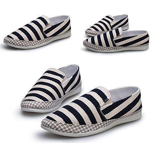 Angelliu Mens Casual Stripes Canvas Shoes Summer Spring Doug Flats Sneakers Black iSvmgnbA