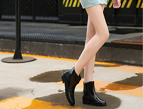 SGoodshoes Scarponcini Gomma Impermeabile Stivali In Stivali Caviglia alla 1 Pioggia Bassi Nero Donna f1fqUOw4x6