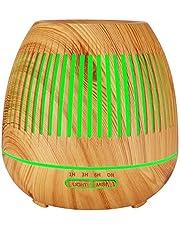 TOMNEW 400 ml difusor de aceite esencial, aromaterapia ultrasonido aromaterapia con aroma de madera susurra humedad con luz LED de 7 colores, sin agua para apagar automáticamente la habitación del niño del Spa del ministerio del interior (brown)
