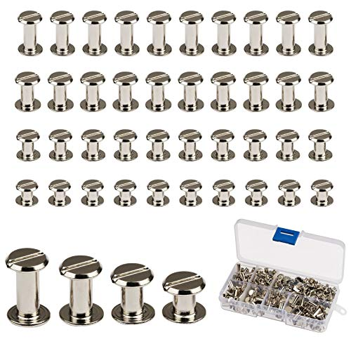 Chicago Screws,LANMOK 128 Sets 5mm Silver Chicago Buttons Assorted Kit Screwing Fasteners Metal Accessories for DIY Crafts Leather Belts Bookbinding