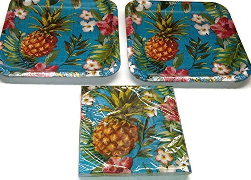 Hawaiian Pineapple Party Supplies Themed Paper Plates and Napkins Serves 16