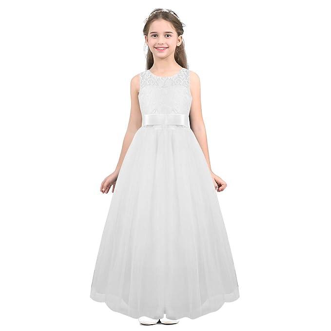 a1affde397 TiaoBug Vestido Flores para Niñas Princesa de Boda Gala Ceremonia Actuación  Vestido Largo Encaje Damas de Honor Falda de Tul Elegante Cumpleaños Baile  ...