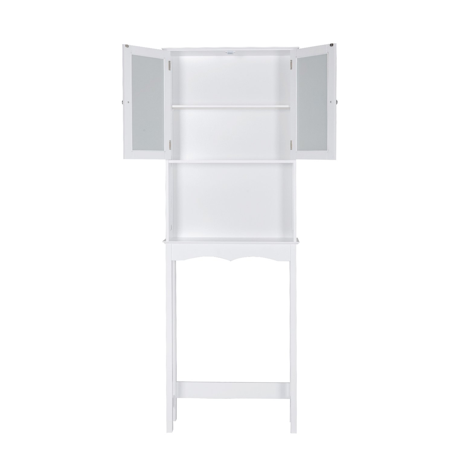 Peachtree Press Inc Home Bathroom Shelf Over The Toilet, Space Saver Cabinet,Bathroom Cabinet Organizer with Moru Tempered Glass Door, White by Peachtree Press Inc (Image #7)