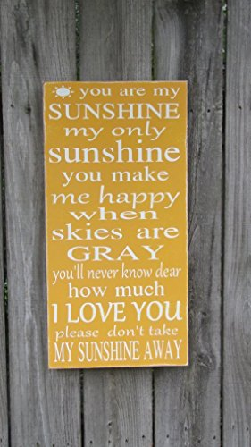 You are my Sunshine Wood Sign Wall Art Song Childrens Room Kids Bedroom Nursery 1' x 2' WITH OR WITHOUT FRAME by Leap of Faith Sign Shop