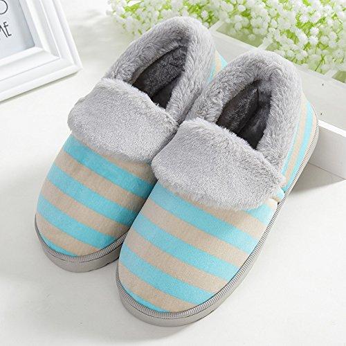 Y-Hui uomini cotone pantofole inverno Pantofole amanti Casa Arredamento dense e calde scarpe antislittamento femmina mese invernale,Suggerimento: la dimensione è piccola,blu cielo