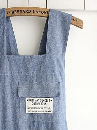 10ea Set Wholesale Housewarming Chef Apron Gift for Women Men Japanese Style X Shape Cotton Apron H:80cm -Blue Color by cozymomdeco