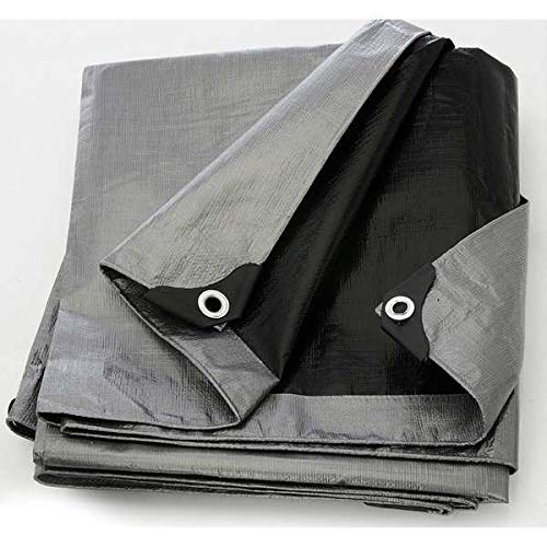 Purpose Poly Tarp Waterproof Cover,Tarpaulin with Metal Gromments,12x16ft Silver-Gray//Black Heavy Duty Multi