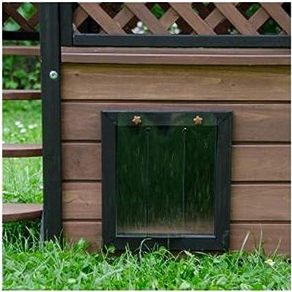 Casa de gato de madera para exteriores - Versátil, fabricada en maderaIdeal para uso exterior, con un tejado resistente a la intemperie y lamas en la puerta ...