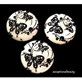 15 White Black Butterfly Print Mother Of Pearl MOP 25mm Flat Round Shell Beads