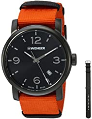 Wenger Mens Urban Metropolitan Swiss Quartz Stainless Steel and Nylon Casual Watch, Color:Orange (Model: 01.1041.131)