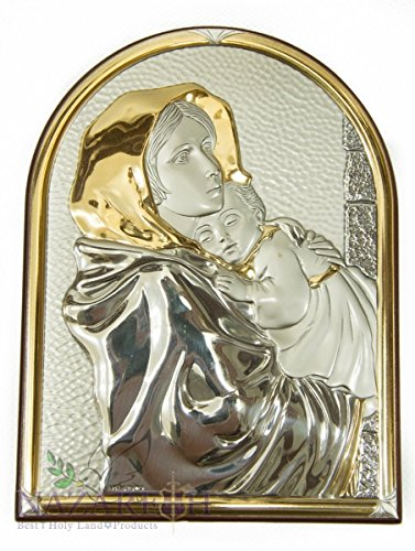Virgin Mary Infant Jesus Icon Italian Silver 950' With Gold 15'' by Holy Land Gifts