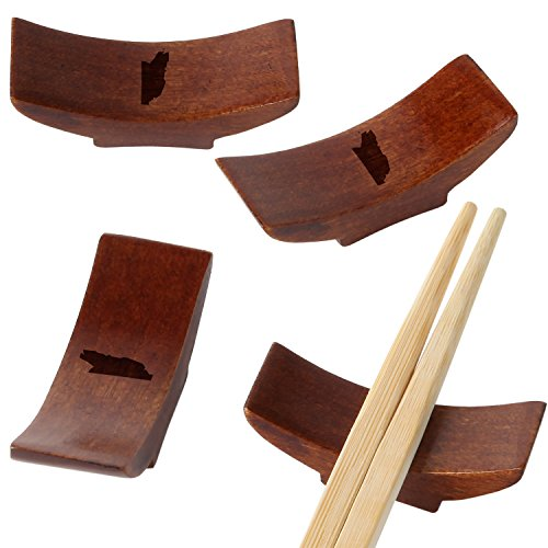 (Belize Wooden Chopstick Rest With Laser Engraved Design - Traditional Chopstick Rest With Modernized Design - Chopstick Spoon Holder)