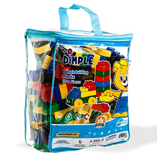 (Dimple DC15381 150 Piece Soft Plastic Building Block Set with Wheeled Train Pieces and Carry Bag, Tons of Fun, Great for Kids & Toddlers, Medium, Multicolor)