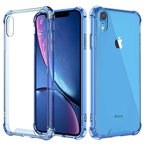 MoKo Compatible with iPhone XR Case, Crystal Clear Reinforced Corners TPU Bumper + Anti-Scratch Hybrid Rugged Transparent Hard Panel Cover Fit with Apple iPhone XR 6.1 inch 2018 - Blue
