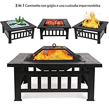 Brasero multifunción de jardín fabricado en metal. Incluye una mesa cuadrada, estufa calefactora ...