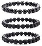 Hamoery Men Women 8mm Natural Stone Beads Bracelet Set Elastic Yoga Agate Bracelet Bangle (Set 2)
