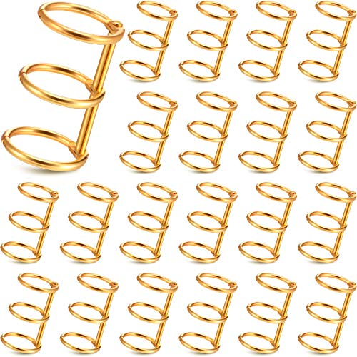 3 Ring Metal Loose Leaf Binders Book Rings with 20 mm Inner Diameter for DIY Travel Diary, Photo Album, Binding Spines Combs (Gold, 20 Pieces) (Binding Metal)