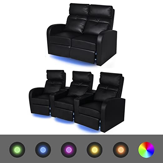 Furnituredeals Sofa de tela Sofas reclinables LED 2 uds 2+3 ...