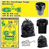 G-1 Garbage Bags Medium Black 19X21 inch | 3 Packs of 30 Pcs = 90 Pcs | Dustbin Trash Waste Dustbin Disposable Covers - Size 48 X 56 cm