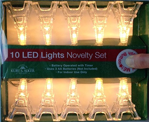 Kurt Adler Battery-Operated Set of 10 Warm White Eiffel Tower Lights