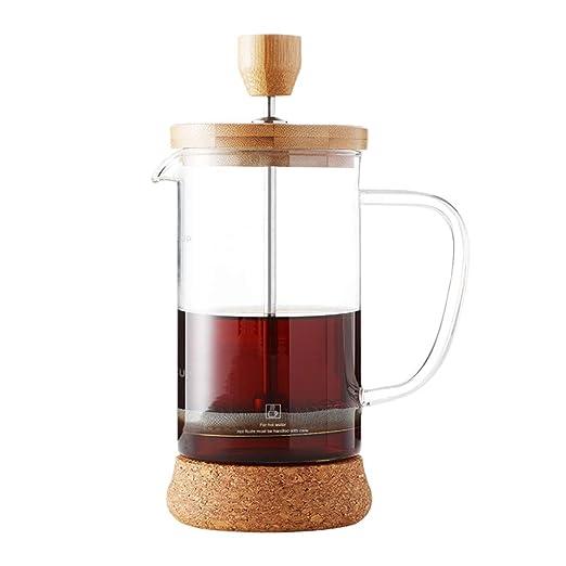 Bote de presión de madera de bambú, cafetera de cristal, cafetera ...