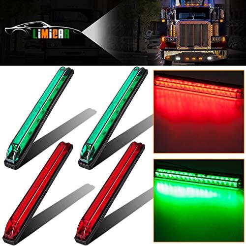 LIMICAR 4PCS Slim Line LED Utility Strip Lights 18 Diodes Submersible 2 Red + 2 Green Navigation Marine Boat Light