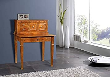 Bureau cabinet bois massif d acacia laqué miel style