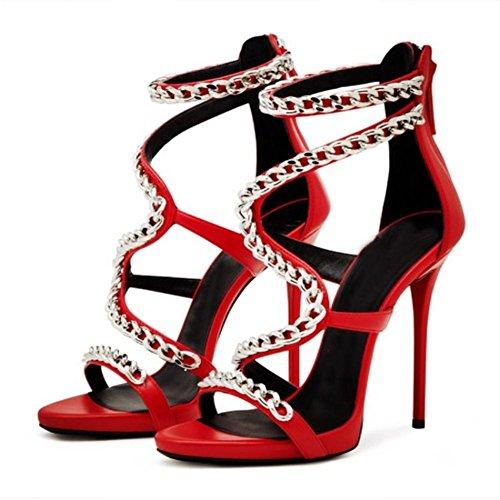 Fiesta pie furtivamente L EUR 5 36 Alto Sexy Zapatos Estilete UK Plataforma Club 4 Mujer Verano Cadena Tacón del Correa Negro Tobillo XIE Mirar Dedo nocturno Vestir 3 Sandalias OaqxOgHr