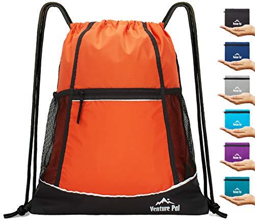 Venture Pal Packable Sport Gym Drawstring Sackpack Backpack Bag with Wet Pocket for Men,Women-Orange