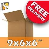 "200 Medium Cardboard Packing Boxes - 9x6x6"""