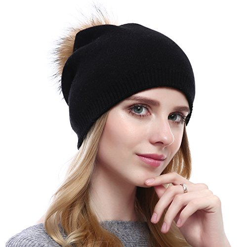 Women Knit Wool Beanie - Winter Fashion Solid Wool Hats Real Removable Raccoon Fur Pom Pom Warm Ski Beanie (Black),One Size