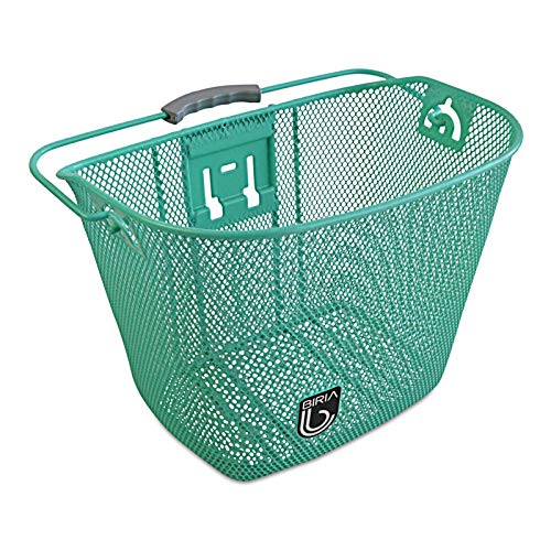 Biria Bicycle Basket Quick Release with Bracket, Front Quick Release Basket, Removable, Wire Mesh Bicycle Basket, New (Green) (Renewed)