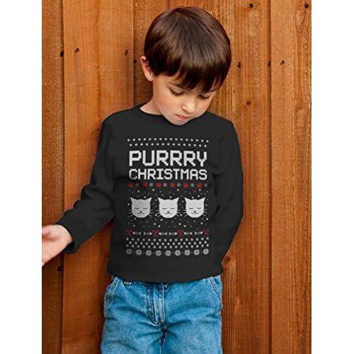 Purrry Christmas Ugly Sweater Cute Cats Toddler//Kids Long Sleeve T-Shirt