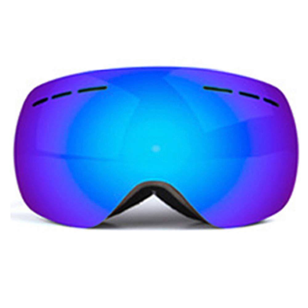 スキー用のゴーグル スキーゴーグル - TPU/PC、ダブルアンチフォグ、着脱式レンズ、近視、調節可能な弾性ヘッドバンド、大人用ユニセックス屋外スキー、登山用大口径HDゴーグル - 4色 (色 : 青 film) 青 film