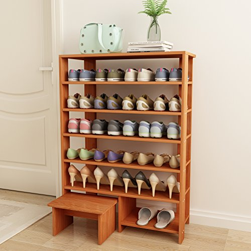 Jerry & Maggie - 6 tier 100% Solid Wood Shoe Rack With One Footstool / Shoe Storage Shelves Free Standing Flat Shoe Racks Classic Style - Multi function shelf organizer - Natural Wood (Flat Storage Racks)