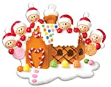 PERSONALIZED CHRISTMAS ORNAMENTS FAMILY SERIES-GINGERBREAD HOUSE WITH 6