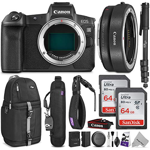 Canon EOS R Mirrorless Digital Camera Body w/Canon Mount Adapter EF-EOS R & Advanced Photo and Travel Bundle