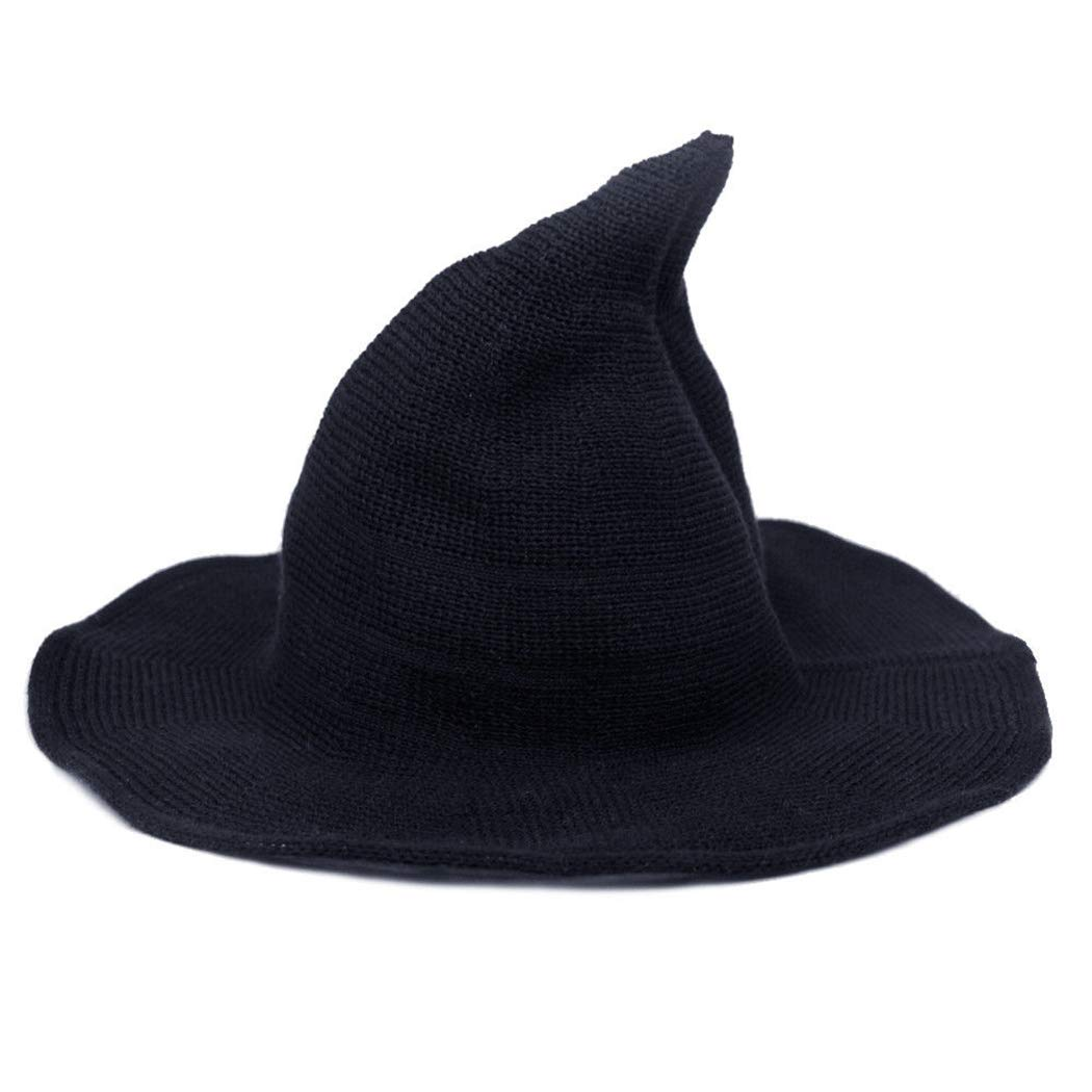 df45a1598dd Amazon.com  FUNOC Women Modern Witch Hat Foldable Costume Ball Sheep Wool  Christmas Cap  Clothing
