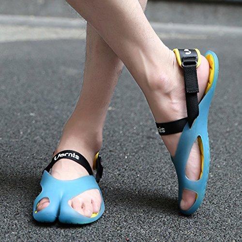 Xing Lin Sandales En Cuir La Foule Paresseux DHommes Chaussures En Cuir, Tongs Des Couples Avec Un Tapis Que Le Glisser-Déposer ,38, Cool Blue Beach