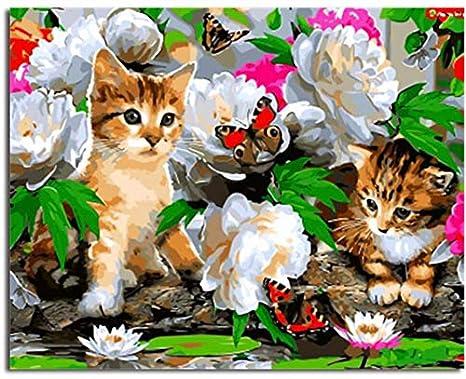 Superlucky Cuadros Pintura y caligrafía Animales Gatos DIY Pintura por números Sobre Lienzo Pintura al óleo Decoración para el hogar 40x50cm con Marco: ...