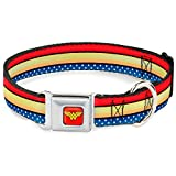 Buckle Down Seatbelt Buckle Dog Collar - Wonder Woman Stripe/Stars Red/Gold/Blue/White - 1'' Wide - Fits 15-26'' Neck - Large