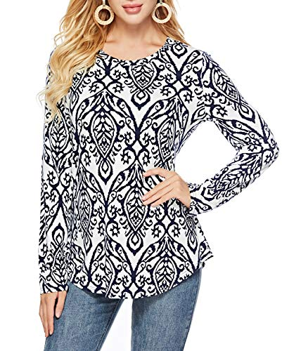 Sarin Mathews Womens Shirts Casual Tee Floral Round Neck Long Sleeve Loose Fits Tunic Tops Blouses